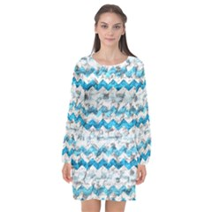 Baby Blue Chevron Grunge Long Sleeve Chiffon Shift Dress
