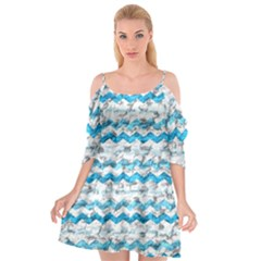 Baby Blue Chevron Grunge Cutout Spaghetti Strap Chiffon Dress