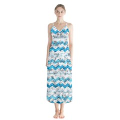 Baby Blue Chevron Grunge Button Up Chiffon Maxi Dress