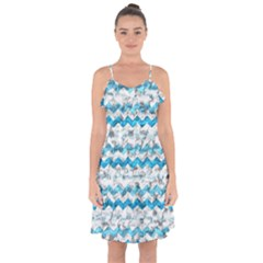 Baby Blue Chevron Grunge Ruffle Detail Chiffon Dress