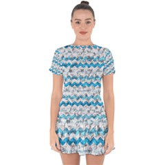 Baby Blue Chevron Grunge Drop Hem Mini Chiffon Dress