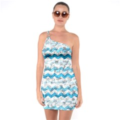 Baby Blue Chevron Grunge One Soulder Bodycon Dress