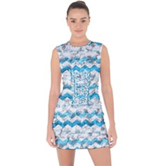 Baby Blue Chevron Grunge Lace Up Front Bodycon Dress