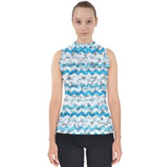 Baby Blue Chevron Grunge Shell Top
