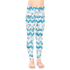 Baby Blue Chevron Grunge Kids  Legging