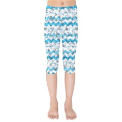 Baby Blue Chevron Grunge Kids  Capri Leggings