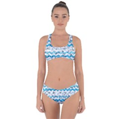 Baby Blue Chevron Grunge Criss Cross Bikini Set