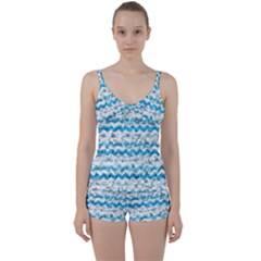 Baby Blue Chevron Grunge Tie Front Two Piece Tankini