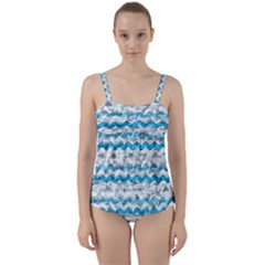 Baby Blue Chevron Grunge Twist Front Tankini Set