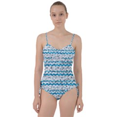 Baby Blue Chevron Grunge Sweetheart Tankini Set