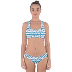 Baby Blue Chevron Grunge Cross Back Hipster Bikini Set