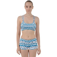 Baby Blue Chevron Grunge Women s Sports Set