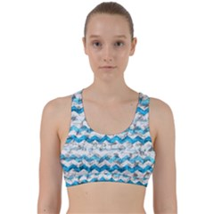 Baby Blue Chevron Grunge Back Weave Sports Bra