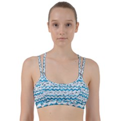 Baby Blue Chevron Grunge Line Them Up Sports Bra