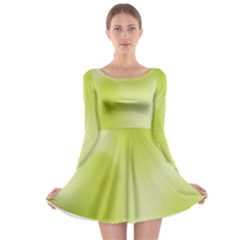 Green Soft Springtime Gradient Long Sleeve Skater Dress