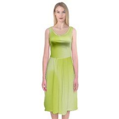 Green Soft Springtime Gradient Midi Sleeveless Dress