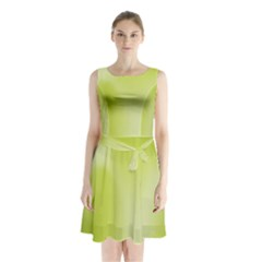 Green Soft Springtime Gradient Sleeveless Waist Tie Chiffon Dress