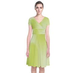 Green Soft Springtime Gradient Short Sleeve Front Wrap Dress