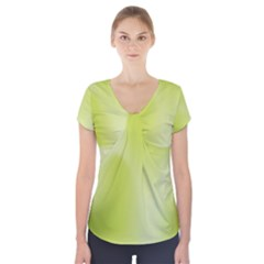 Green Soft Springtime Gradient Short Sleeve Front Detail Top
