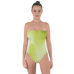 Green Soft Springtime Gradient Tie Back One Piece Swimsuit