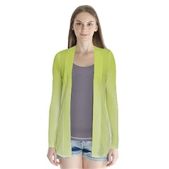 Green Soft Springtime Gradient Drape Collar Cardigan