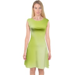 Green Soft Springtime Gradient Capsleeve Midi Dress