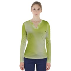 Green Soft Springtime Gradient V Neck Long Sleeve Top