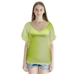 Green Soft Springtime Gradient Flutter Sleeve Top