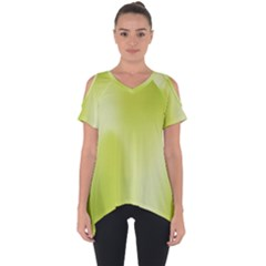 Green Soft Springtime Gradient Cut Out Side Drop Tee