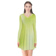 Green Soft Springtime Gradient Flare Dress