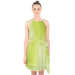 Green Soft Springtime Gradient Halter Collar Waist Tie Chiffon Dress