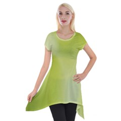 Green Soft Springtime Gradient Short Sleeve Side Drop Tunic