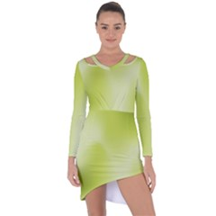 Green Soft Springtime Gradient Asymmetric Cut Out Shift Dress