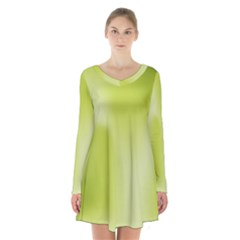 Green Soft Springtime Gradient Long Sleeve Velvet V Neck Dress