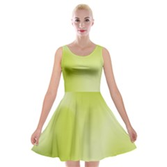 Green Soft Springtime Gradient Velvet Skater Dress