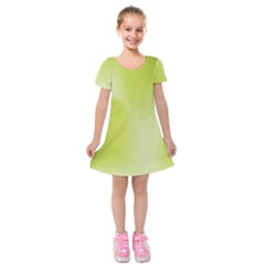Green Soft Springtime Gradient Kids  Short Sleeve Velvet Dress