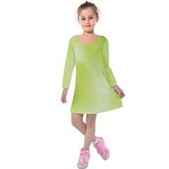 Green Soft Springtime Gradient Kids  Long Sleeve Velvet Dress