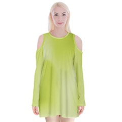 Green Soft Springtime Gradient Velvet Long Sleeve Shoulder Cutout Dress