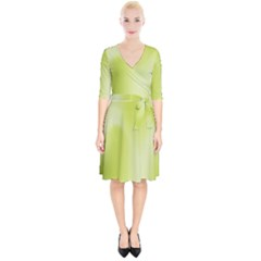 Green Soft Springtime Gradient Wrap Up Cocktail Dress