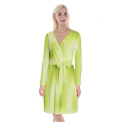 Green Soft Springtime Gradient Long Sleeve Velvet Front Wrap Dress