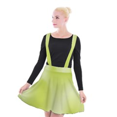 Green Soft Springtime Gradient Suspender Skater Skirt
