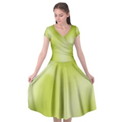Green Soft Springtime Gradient Cap Sleeve Wrap Front Dress