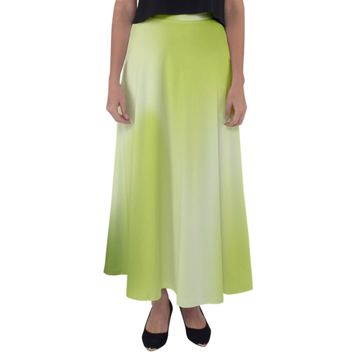 Green Soft Springtime Gradient Flared Maxi Skirt