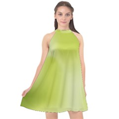 Green Soft Springtime Gradient Halter Neckline Chiffon Dress
