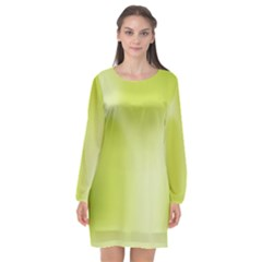 Green Soft Springtime Gradient Long Sleeve Chiffon Shift Dress