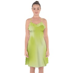 Green Soft Springtime Gradient Ruffle Detail Chiffon Dress