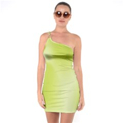 Green Soft Springtime Gradient One Soulder Bodycon Dress