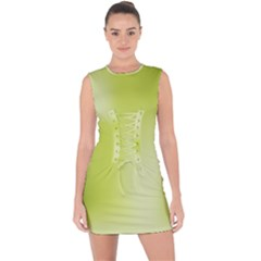 Green Soft Springtime Gradient Lace Up Front Bodycon Dress