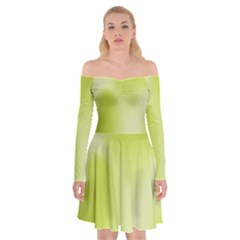 Green Soft Springtime Gradient Off Shoulder Skater Dress