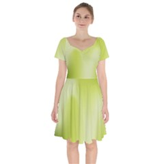 Green Soft Springtime Gradient Short Sleeve Bardot Dress